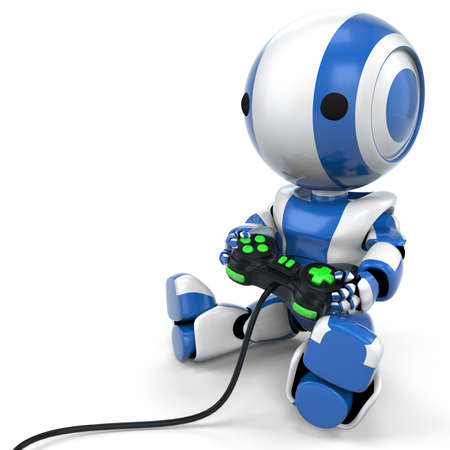 A blue robot holding a video game controller with bright green buttons.