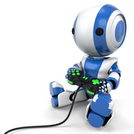 juego: Un robot de color azul con un juego de v�deo con botones de color verde brillante.