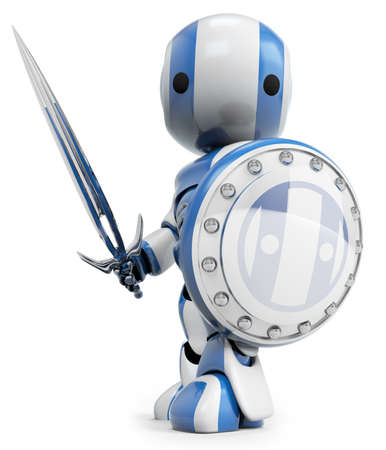 A blue robot holding a sword and Shield. a symbol of technological purity and excellence. Good concept for antivirus, bot software, and just fun! Stock Photo