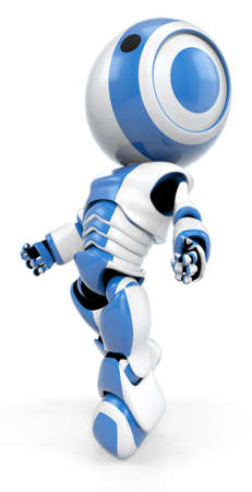 weightless: A blue robot drifting up, a view shown from the side. He almost appears weightless.