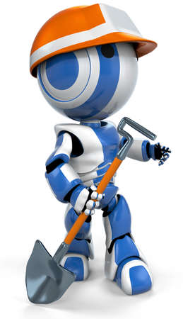 A blue robot with an orange hard hat, standing ready for work with a shovel in his hand.  photo