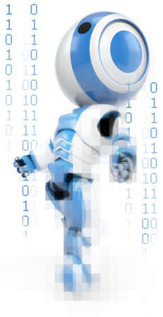 distorted image: A blue robot drifting through binary space, with ones and zeros cycling around him. Showing his digital origins.