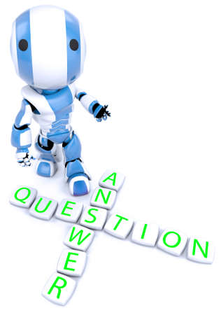 A blue robot behind a crossword puzzle arrangement photo