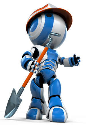 motioning: A working class robot holding a shovel. He is motioning to the right, perhaps giving an order.