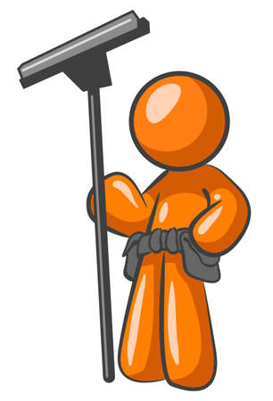 cleaner: An orange man holding a squeegee and looking confident in his exceptional work.