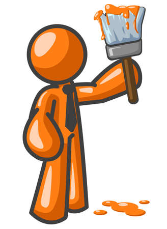 wet paint: An orange man with a paint brush, ready to paint the town orange.  Illustration