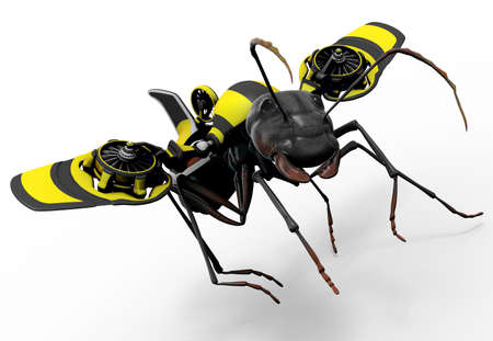 A worker ant with a wasp styled flying mechanism attached to his back. Good concept for exceeding personal limits. The color pattern of the jet pack suggest he is trying to be a wasp, a relative of the ant.  photo