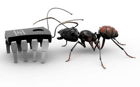 rendering: An ant meeting a computer bug, which is a microchip with antennas and walking on its conductors.