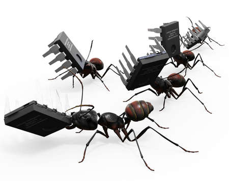 mandible: Ants carrying microchips. Good concept for computer bugs.  Stock Photo