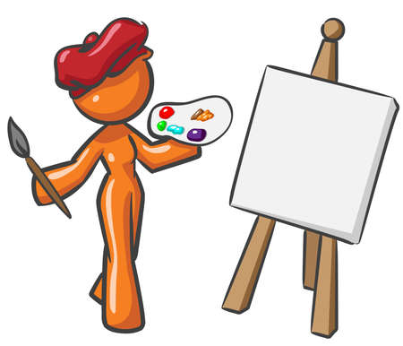 masterpiece: A design mascot woman painter, ready to create a masterpiece. Illustration