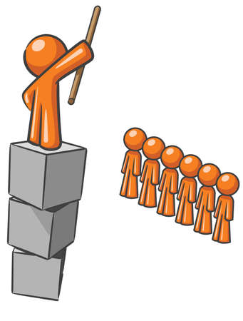 A design mascot standing on blocks shouting to his submissive subjects. Illustration