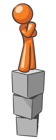 day dreaming: A design mascot standing on blocks, thinking.