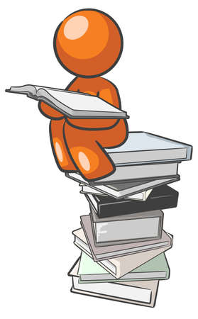 A design mascot sitting on books educating himself.