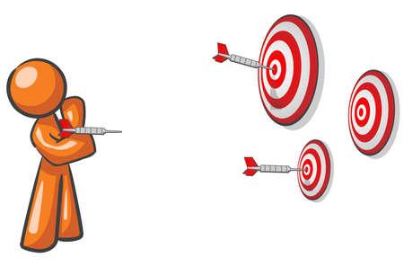 individualit�: Un disegno che mira mascotte per pi� obiettivi. Concetto di marketing. Vettoriali