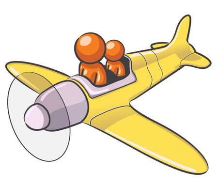 A design mascot flying an airplane. Stock Vector - 5138741