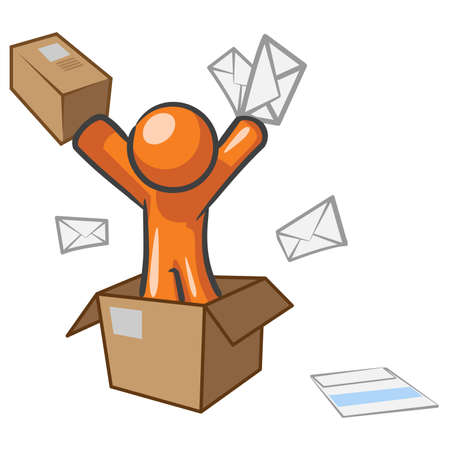 A design mascot with mail going postal. Stock Vector - 5138698