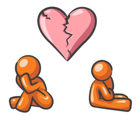 arguing: Design mascots suffering broken heart syndrome.