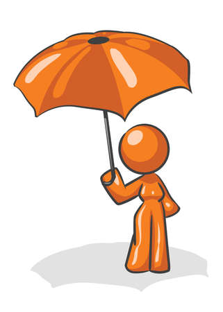 A design mascot woman holding an umbrella Stock Vector - 5138696