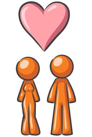 heterosexual: Design Mascots in love.