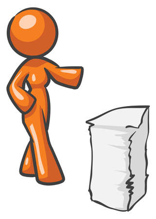 Design mascot woman with large stack of papers.
