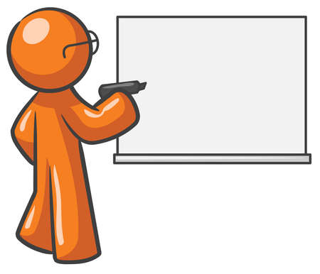 A design mascot with a dry erase board which is blank. Stock Vector - 5138689