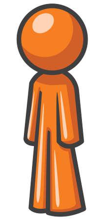 sideways: Design mascot standing up sideways.