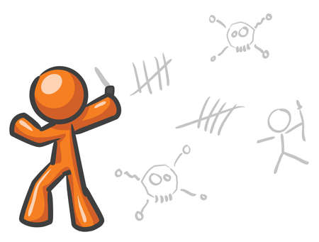 insanity: A design mascot insane and drawing on a wall random designs.