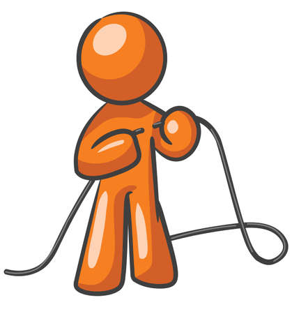 A design mascot fixing a cord, or tying up loose ends.