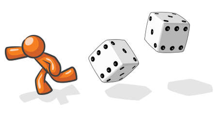 six objects: A design mascot running from giant dice, based on the saying victim of chance. Illustration