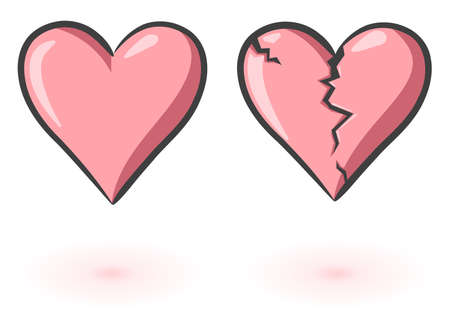 A heart and a broken heart. Vector