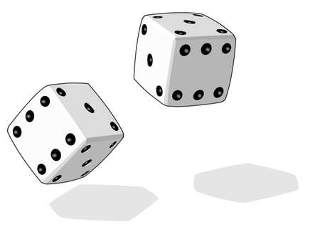 double game: Two dice having been rolled, as is appropriate in the case of dice.  Illustration