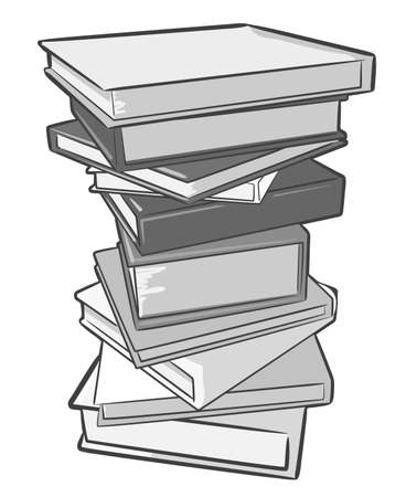 hardback: A stack of books.  Illustration