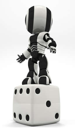 A robot standing victorious on dice. Could show his triumph over chance and overcoming his lot in life. Stock Photo - 5164540