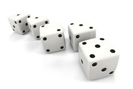 fibonacci: Six dice placed in order, the top numbers being in order of: One, One, Two, Three, Five, which are the beginning numbers of the Fibonacci sequence. Stock Photo