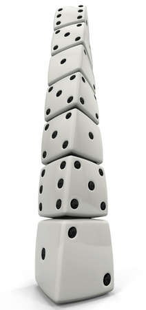 A tower of dice viewed from the bottom, with dramatic perspective. Stock Photo - 5164538