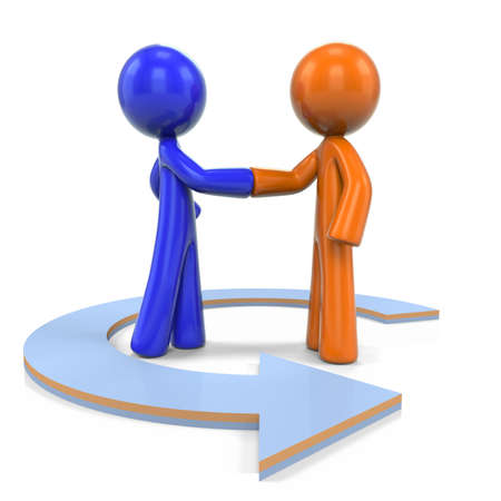 customer relationship: An orange and blue men shaking hand with an arrow circling them, suggesting they are coming together for a solution.