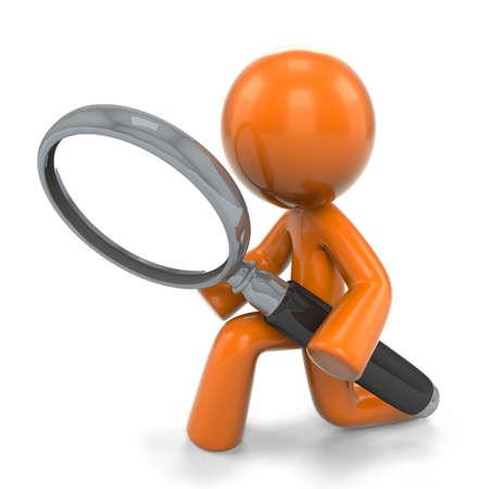 Een oranje man detective, met een vergrootglas, op zoek naar iets nauw, als een neiging om te doen met een vergrootglas glass.Based op populaire originele vector design Stockfoto