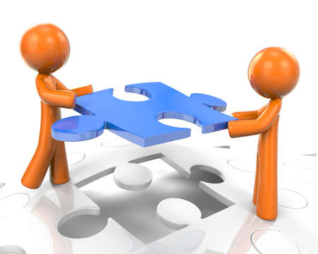 Two orange men working as a team to assemble a puzzle. Great illustration for problem solving and coordinated efforts. Stock Illustration - 5893681