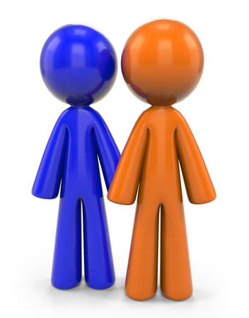 An orange and blue man standing side by side. They can be friends or coworkers! Stock Photo - 5896165
