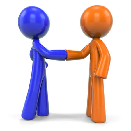coming together: An orange and blue men shaking hands, suggesting they are coming together for a solution.