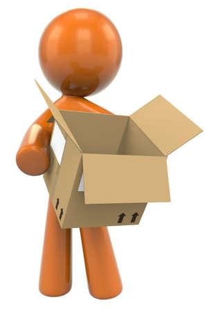 man carrying box: 3D Orange Man Holding A Shipping Box