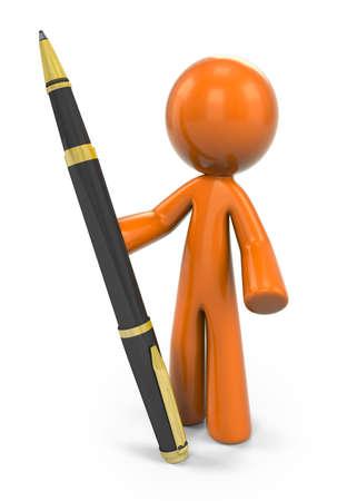 man: 3D Orange Man Holding A Pen;