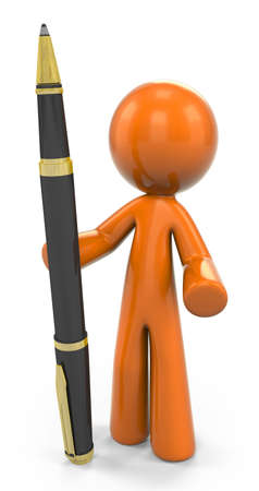 ball pen: 3D Orange Man Standing Upright With A Pen;