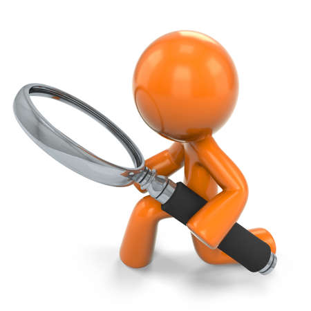 peering: 3D Orange Man Kneeling Down Looking Through A Magnifying Glass;