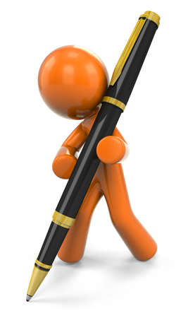 signing: 3D Orange Man Writing With A Ball Point Pen;