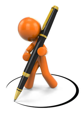 authorizing: 3D Orange Man DesigningWriting With Ball Point Pen;