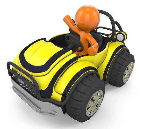 yellow adventure: 3D Orange Man Sitting Inside A Yellow Sports VehicleDune Buggy;