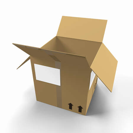 man carrying box: 3D Cardboard Delivery Box;  Stock Photo