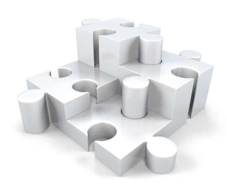 3D White Jigsaw Puzzle Pieces; 3D Jigsaw Components