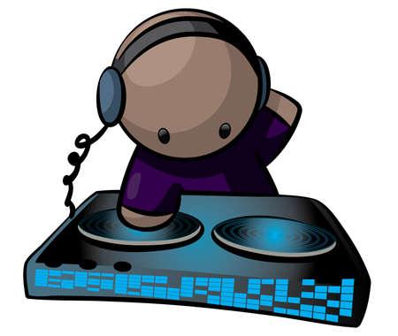 party dj: Un artiste de musique DJ en utilisant une table tournante, le brouillage d'une m�lodie. Illustration